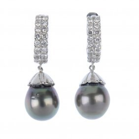 A Pair Of Diamond And Cultured Pearl Ear Pendants. Each