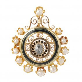 A Diamond, Enamel And Split Pearl Pendant. The Rose-cut