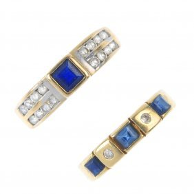 Two Sapphire And Diamond Dress Rings. To Include An