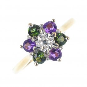 A Diamond, Amethyst And Tourmaline Cluster Ring. Of