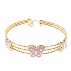 An Enamel Bracelet. Designed As A Series Of Three Pink