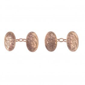 Two Pairs Of 9ct Gold Chain Connecting Cufflinks. Each