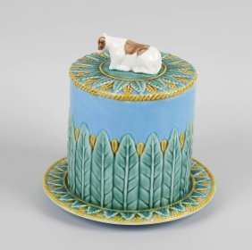 Four Items Of Pottery, Comprising: A Majolica Cheese