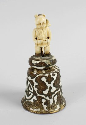 A Late 19th Century Chinese Table Bell, The Enameled