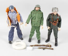 Three Early Palitoy Action Man Figures, With Moulded