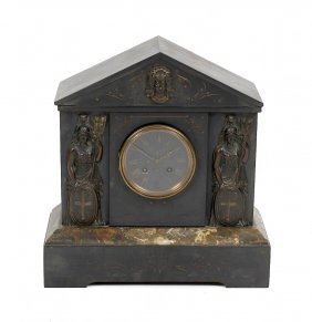 A Late 19th Century French Black Slate Mantel