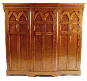 A Victorian Gothic Revival Pitch Pine Hall Wardrobeof