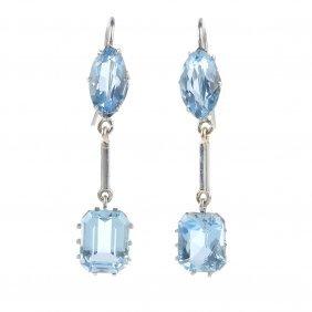 A Pair Of Aquamarine Earrings. Each Designed As A