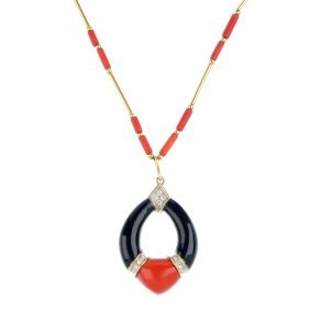 A Coral, Diamond And Onyx Necklace. The Oval Onyx And