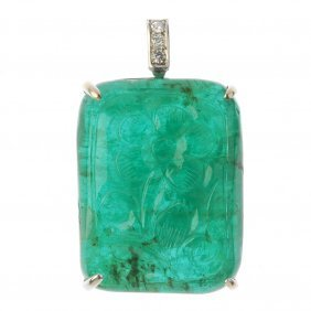 An Emerald And Diamond Pendant. The Carved Emerald, To
