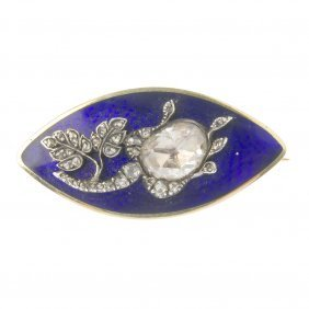 A Late Victorian Gold Enamel And Diamond Brooch. Of