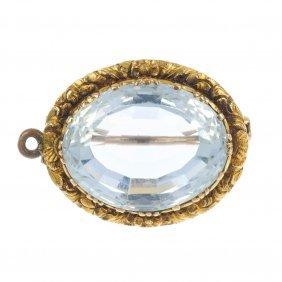 An American Mid 19th Century 18ct Gold Aquamarine
