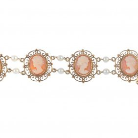 A 9ct Gold Cultured Pearl And Cameo Bracelet. Designed