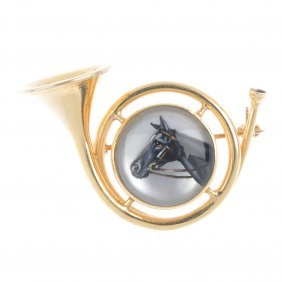 A Mid 20th Century Reverse Carved Intaglio Horse And