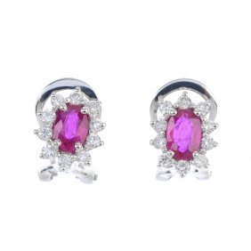 A Pair Of Ruby And Diamond Cluster Earrings. Each