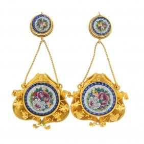 A Pair Of Late 19th Century Gold Micro Mosaic Earrings.