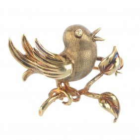 A Bird Brooch. Designed As A Singing Bird, Perched On A