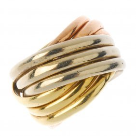 A Band Ring. Designed As A Series Of Triple Interwoven