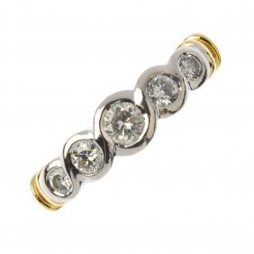 An 18ct Gold Diamond Dress Ring. Designed As A