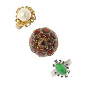 Three Gem-set Rings. To Include An Oval Jade Cabochon