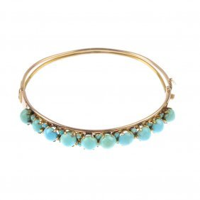 A Turquoise Hinged Bangle. Designed As A Series Of