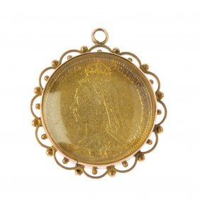 A Late Victorian 9ct Gold Mounted Enamel Coin Pendant.
