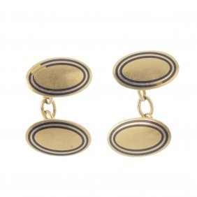 A Pair Of Early 20th Century Gold Enamel Cufflinks.