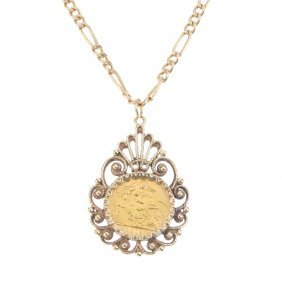 A 9ct Gold Half Sovereign Pendant And Chain. A George
