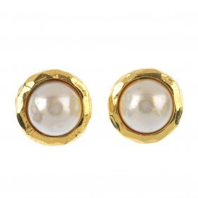 Chanel - A Pair Of Imitation Mabe Pearl Earrings. Each