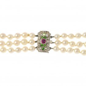 A Cultured Pearl Three-row Necklace, With Demantiod