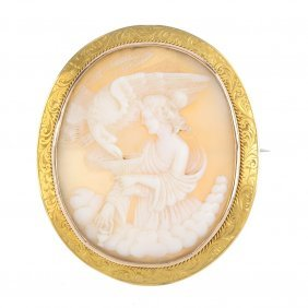 A Late 19th Century Gold Cameo Brooch. The Oval Shell