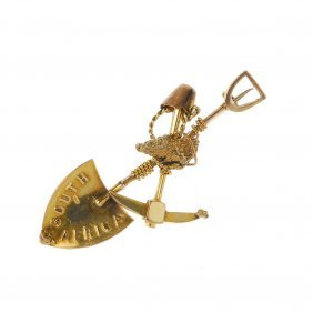 A Late 19th Century 15ct Gold 'digger' Brooch. The