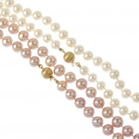 Two Cultured Pearl Single-strand Necklaces. The First