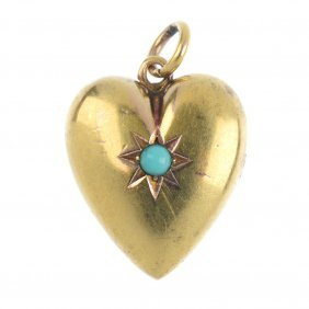 A Late 19th Century Turquoise Heart Pendant. The Heart