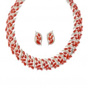 (129456-4-a) A Suite Of Coral And Diamond Jewellery.