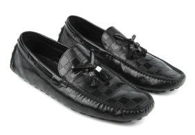 Louis Vuitton - A Pair Of Men's Damier Loafers. Crafted