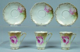 "RS Prussia/Germany 3 Cups With Saucers, Cups 3""h; Sa"