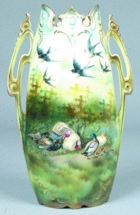"RS Prussia Vase, 12""h., Mold 938; Bird Design: Barn"