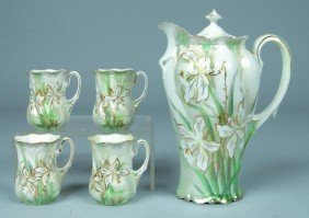 """RS Prussia Chocolate Set, Pot, 8""""h.; 4 Cups, 3""""h.,"""