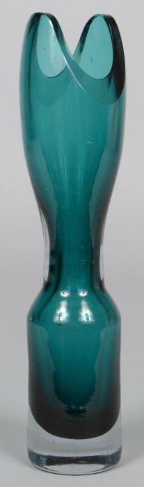 Blenko Blue Green Vase, Clear Weighted Base, Hourgla