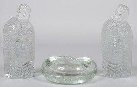 Crystal Blenko Ashtray With Bubbles, Broken Pontil,