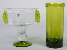 Two Blenko Chartreuse Vases, Crystal Urn Shape Wit
