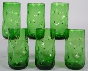 Six Tall Blenko Tumblers, Green With Dimpled Sides