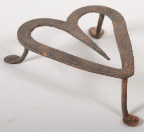 Wrought Iron Heart Shaped Trivet. Three Legs With