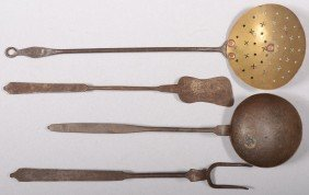 "Four Wrought Iron Utensils. A Ladle, 17 3/8""l.; Fl"