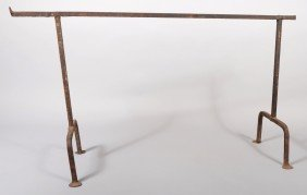 Wrought Iron Standing Hearth Crane. Trestle Type W