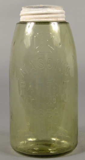 "Yellow/Green Glass Mason Fruit Jar With ""H.F.C.Co."