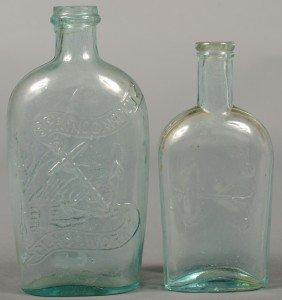 Two Aquamarine Flasks; 1st Is A Spring Garden Glas