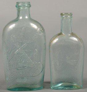 Two Aquamarine Flasks; 1st Is A Spring Garden Glas