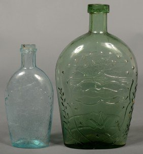 Two Eagle/Union Flasks; 1st Is A Green Quart Size